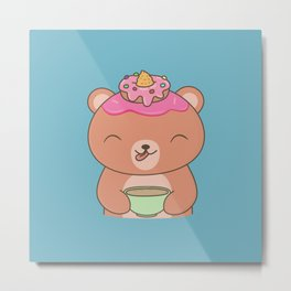 Kawaii Cute Coffee Bear Metal Print