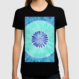 mosaic blue and green palette watercolor T-shirt