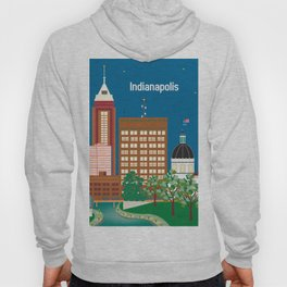 Indianapolis, Indiana - Skyline Illustration by Loose Petals Hoody