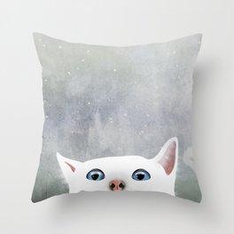 Curious White Cat Throw Pillow