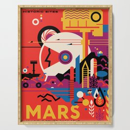 NASA Retro Space Travel Poster #9 Mars Serving Tray