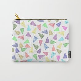 Hand painted pastel pink teal green watercolor triangles Carry-All Pouch