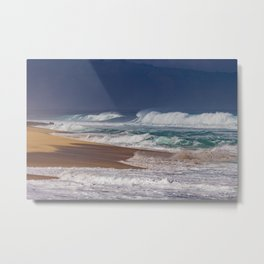 Stormy Sunset Beach Metal Print