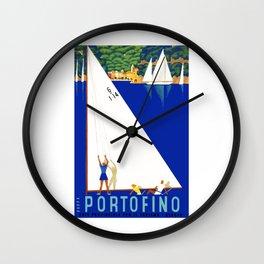 1941 PORTOFINO Italy Travel Poster Wall Clock