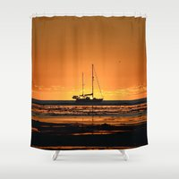 sailboat Shower Curtains featuring Sailboat  by Galina's photography.