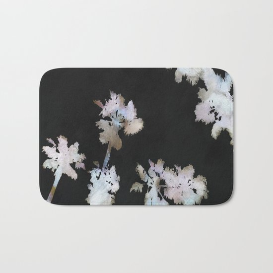 Tropical Palms On Black Background Bath Mat