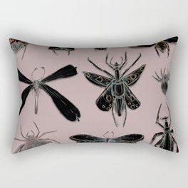 Entomology black and Antique Rose Rectangular Pillow