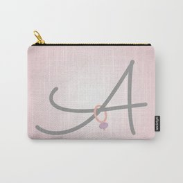 Pink Letter A with Stitch Marker Carry-All Pouch