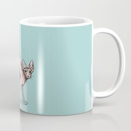 Playful Sphynx Cat Arching Its Back - Wrinkly Nude Kitty - Robins Egg Blue Background Coffee Mug