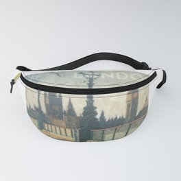London Vintage skyline view of Westminster Abbey and Big Ben, painting from Victorian era Fanny Pack