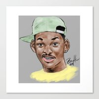 fresh prince Canvas Prints featuring Fresh Prince by Jackie Bran