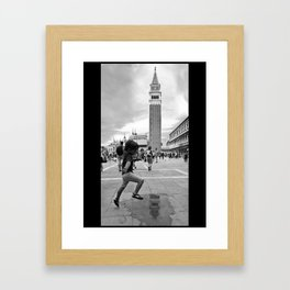 Boy playing in San Marco, Venezia Framed Art Print