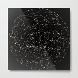 Constellations Map, Stars, Astronomy Cosmos Galaxy Metal Print