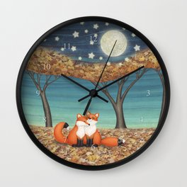 cuddly foxes Wall Clock