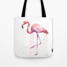 Flamingo Watercolor Tropical Birds Animal Painting Tote Bag