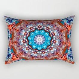 Digital Bright Colorful Red Blue Kaleidoscope Mandala Bohemian Rectangular Pillow