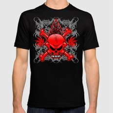 Red Fire Skull with Tribal Tattoos MEDIUM Black Mens Fitted Tee