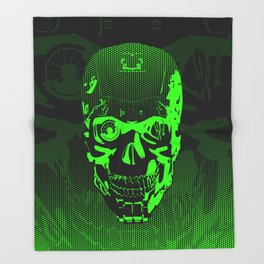Gamer Skull CARTOON GREEN / 3D render of cyborg head Throw Blanket