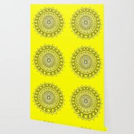 Yellow Sunshine Bohemian Mandala Wallpaper