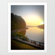 Sunrise Over Lake and Path Art Print