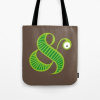 et Tote Bags featuring Et worm by Robert Karpati