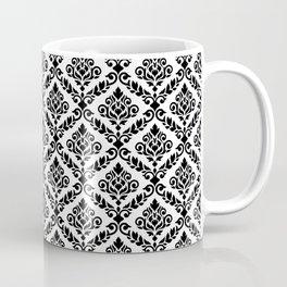 Prima Damask Pattern Black on White Coffee Mug