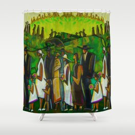 African American Masterpiece 'Funeral Procession' by Ellis Wilson Shower Curtain