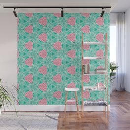 Millennial Pink Chenille and Mint Anchor  Pattern Wall Mural