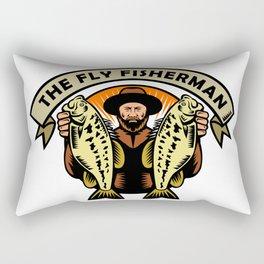 Fly Fisherman Holding Largemouth Bass Woodcut Rectangular Pillow