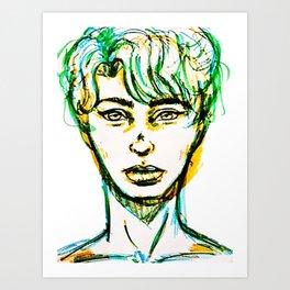 Guy in blue green and orange Art Print