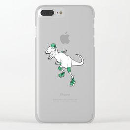 Derby Dino WHT/grn Clear iPhone Case