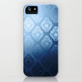 """""""Navy blue Damask Pattern"""" iPhone Case"""