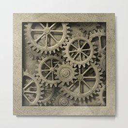 Steampunk Cogwheels Metal Print