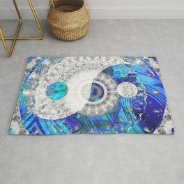 Blue And White Art - Yin And Yang Symbols - Sharon Cummings Rug