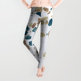 TERRAZZO ABSTRACT BLUE YELLOW ORANGE Leggings