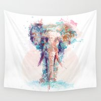 elephant Wall Tapestries featuring Elephant by I AM DIMITRI