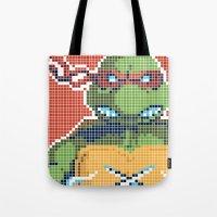teenage mutant ninja turtles Tote Bags featuring Teenage Mutant Ninja Turtles - Raphael by James Brunner