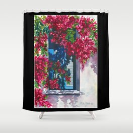 Shutters & Bougainvillea Shower Curtain