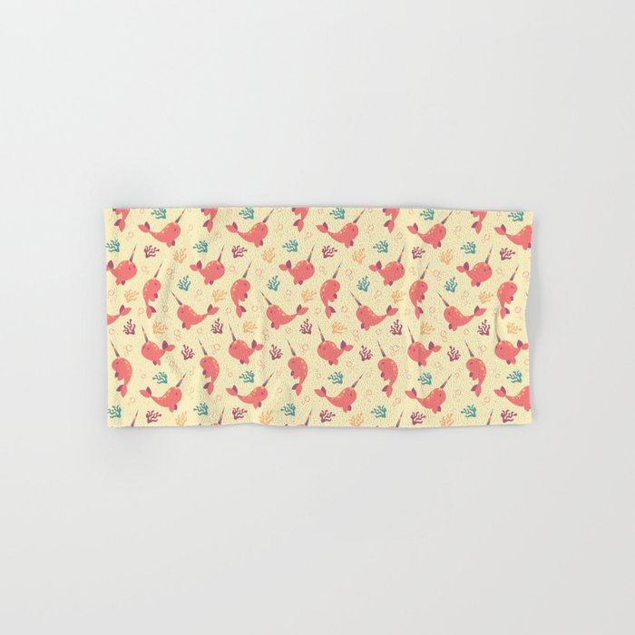 To the Window to the Narwhal - Coral & Cream Hand & Bath Towel