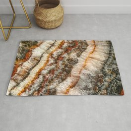 Agate Crystal V // Red Gray Black Yellow Orange Marbled Diamond Luxury Gemstone Rug