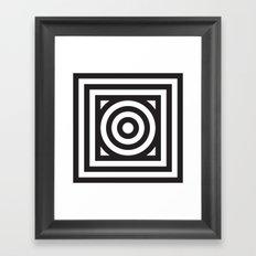 Stripes Circle Square Black & White Framed Art Print