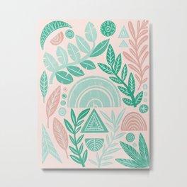 Blush Geometric Botanical Metal Print