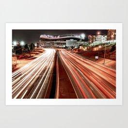 Light Trails to Mile High Stadium - Vintage Edition Art Print