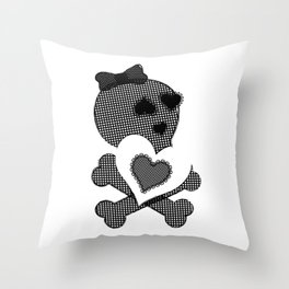 Skull Lace  - Crossbones Heart Illustration Throw Pillow