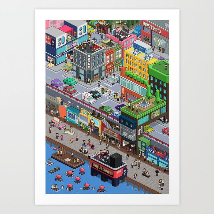 pixel-art-city-prints Pixel Art City @koolgadgetz.com.info
