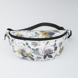 White Garden. Floral Pattern. Yellow Flowers. Fanny Pack