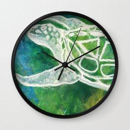 Cosmic Emerald Turtle Guardian Wall Clock