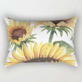 Sunflowers and Honey Bees Rectangular Pillow