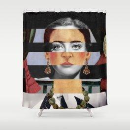 F. K.'s Self Portrait Time Flies & Joan Crawford Shower Curtain