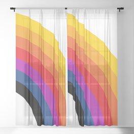 Retro Rainbow - Right Sheer Curtain